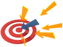 Arrow directions point at target bullseye Stock Photos
