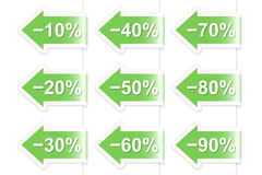 Arrow discount labels. Vector illustration Royalty Free Stock Photo