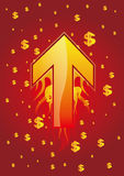 Arrow and dollar. Arrow in the red background Royalty Free Stock Photos