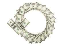 Arrow of dollars on white Stock Photography
