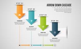 Arrow Down Cascade Infographic Stock Photos