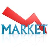 Arrow down market Royalty Free Stock Photo