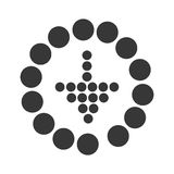Arrow down into a round with dots design. Stock Photo