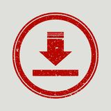 Arrow Down rubber seal stamp watermark. Icon vector symbol with grunge design and corrosion texture. Scratched red ink