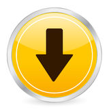 Arrow down yellow circle icon Royalty Free Stock Photography