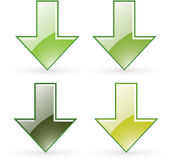 Arrow download green button icon Stock Photos