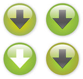 Arrow download green button icon. Download green button icon with arrow detail Royalty Free Stock Photos
