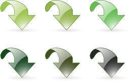Arrow download green button icon Stock Photography
