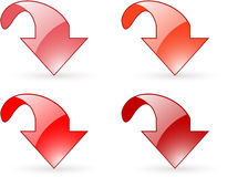 Arrow download red button icons Royalty Free Stock Image