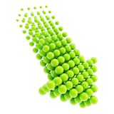 Arrow emblem icon made of spheres isolated Stock Image