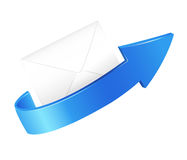 Arrow and envelop. Illustration of a arrow and envelop on a white background royalty free illustration