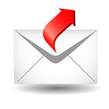 Arrow and envelope Royalty Free Stock Images