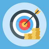 Arrow is exactly at the target. A bunch of gold coins. Illustration  on a color background.  Royalty Free Stock Photos