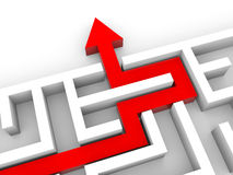 Arrow exiting into the maze. Success solution concept. 3D illustration Stock Image