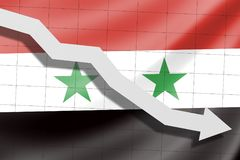 Arrow fall down on the background of the flag Syria vector illustration