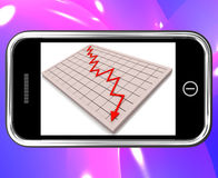 Arrow Falling On Smartphone Shows Financial Crisis Stock Photo