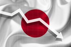Arrow falls against the background of the flag of the Japan. stock illustration
