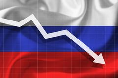 Arrow falls against the background of the flag of the Russ. White arrow falls against the background of the flag of the Russia Royalty Free Stock Image