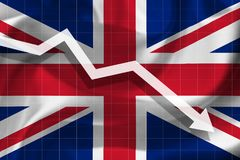 Arrow falls against the background of the flag of UK vector illustration