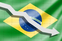 The arrow falls on the background of the Brazil flag stock illustration
