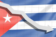 The arrow falls on the background of the Cuban flag stock images