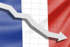 The arrow falls on the background of the France flag stock images