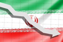 The arrow falls on the background of the Iran flag stock photo