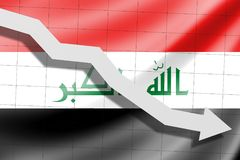 The arrow falls on the background of the Iraq flag royalty free stock images