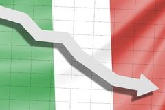 The arrow falls on the background of the Italy flag stock photography