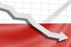 The arrow falls on the background of the Poland flag royalty free stock photo