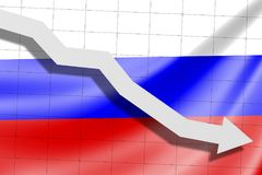 The arrow falls on the background of the Russia flag royalty free stock images