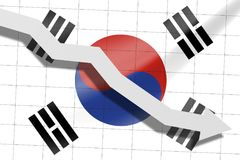 The arrow falls on the background of the South Korea flag.  royalty free stock images