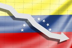 The arrow falls on the background of the Venezuela flag royalty free stock image