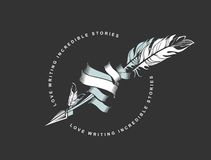 Arrow with feather emblem Royalty Free Stock Images