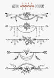 Arrow feather page dividers Royalty Free Stock Image