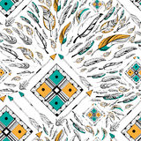 Arrow and feather for Tribal boho style seamless pattern Stock Image