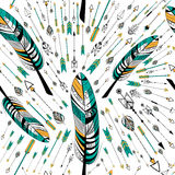 Arrow and feather for Tribal boho style seamless pattern Stock Photo