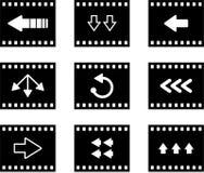 Arrow film. Set of six arrow film style icons isolated on white Royalty Free Stock Photos