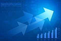 Arrow on financial graph and chart, success business, Elements o Royalty Free Stock Images
