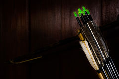 Arrow fletchings in different variation wwith bow Royalty Free Stock Images