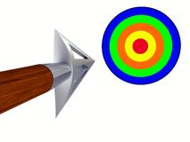 Arrow flying to the target Stock Photo