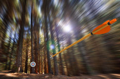 Arrow flying to target with radial motion blur. 3D render of an arrow speeding through a motion blurred forest toward an archery target Royalty Free Stock Photography