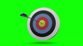 Arrow flying towards dart board and hitting target