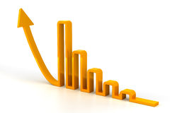 Arrow forming a rising bar graph Stock Photography
