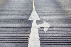 The arrow forward and turn right sign on seamless concrete textu. Re Stock Photos