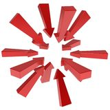 Arrow Gather. Long red 3d arrows gathering, over white, isolated royalty free illustration