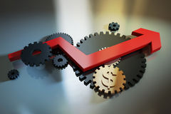 Arrow and gear Royalty Free Stock Images