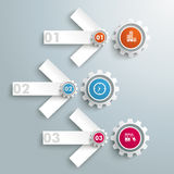 3 Arrow Gears PiAd. Infographic design on the grey background. Eps 10  file Royalty Free Stock Image