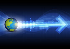 Arrow with global technology background Stock Image