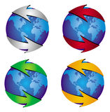 Arrow with globe Royalty Free Stock Images